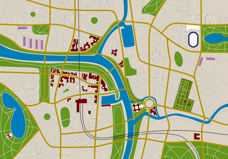 made-up city map with streets, river and gardens Illustration