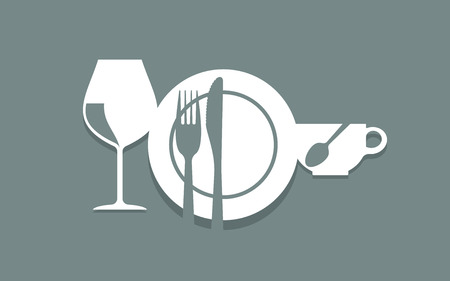 cutlery, plate, cup and glass arranged as symbol