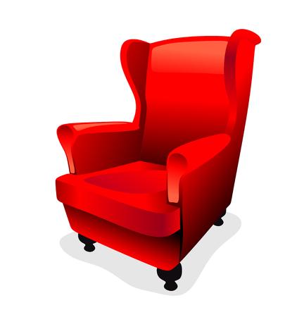 oude vleugel stoel met rode vacht stoffen bekleding