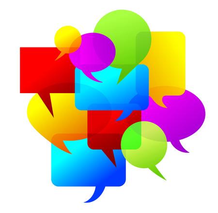 metafoor: gekleurde spraak bellen als metafoor voor vele meningen