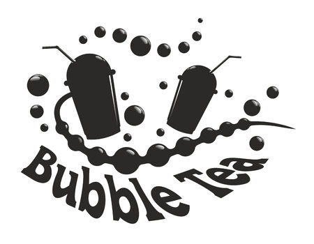 simplified: simplified sign with silhouette for bubble tea