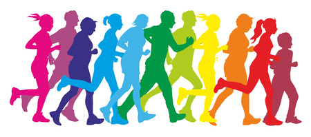 colorful silhouettes of a group of runners photo