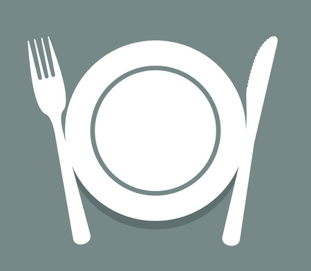 simplified: simplified sign with dishes and cutlery for decoration