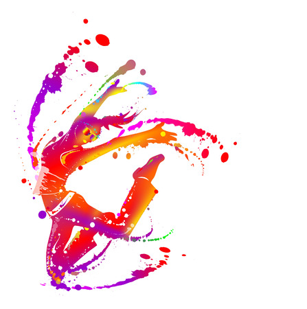 silhouette of woman with paint splashes jumping for joy