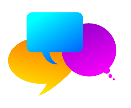 three colorful speech bubbles as metaphor, symbol or background photo