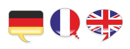 german ethnicity: three speech bubbles with the flags of Germany, France and the UK Stock Photo