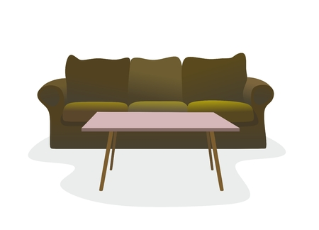cushioning: illustration of an old couch with coffee table