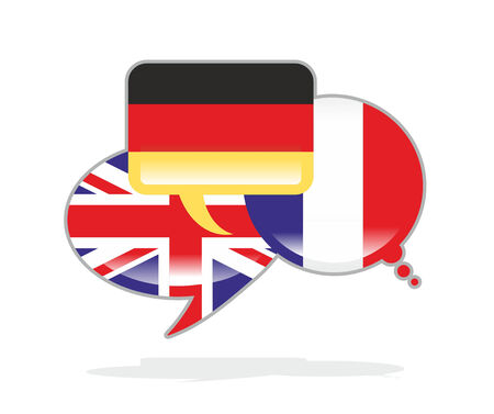 three speech bubbles with the flags of Germany, France and the UK photo