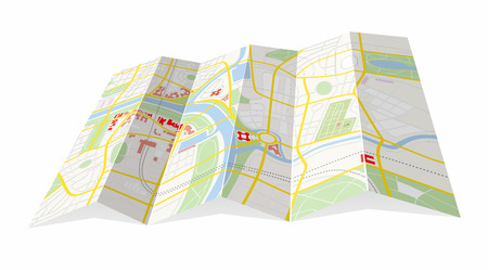 folded town map with fictional road system
