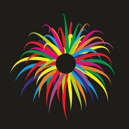 simplified: simplified illustration of a colorful firework display