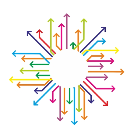 dynamic growth: colored arrows arranged around a white background