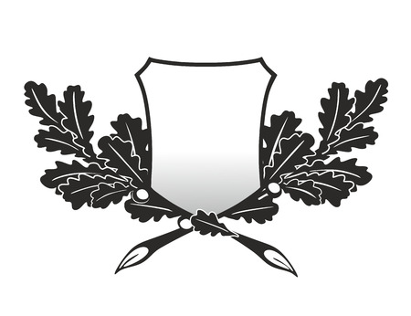 emblem with twigs of an oak as trophy photo