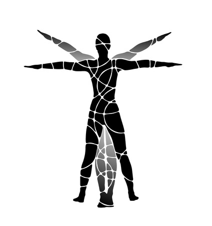 proportions of man: classic figure of human being with arms stretched out