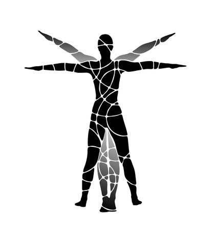 ser humano: figura cl�sica del ser humano con los brazos estirados hacia fuera