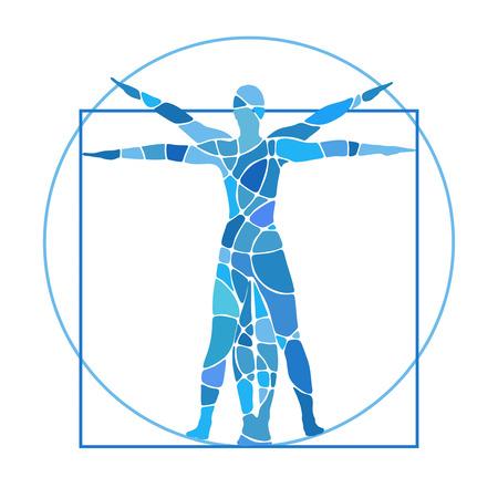 uomo vitruviano: proporzioni umane con le braccia e le gambe tese