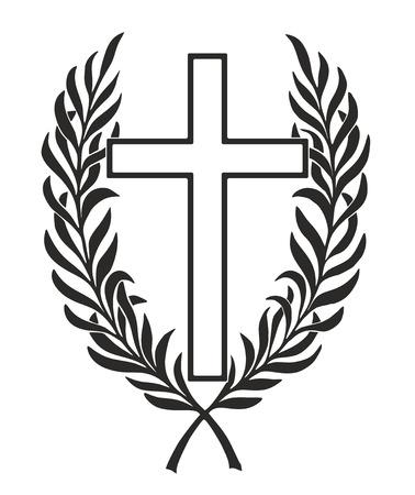 simplified cross entwined by a laurel wreath