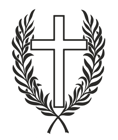 obituary: simplified cross entwined by a laurel wreath