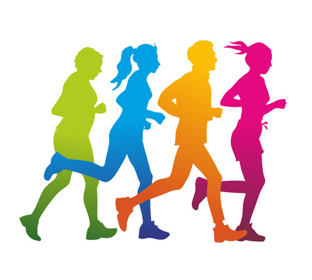 a group of jogger as colored silhouette Stock Photo