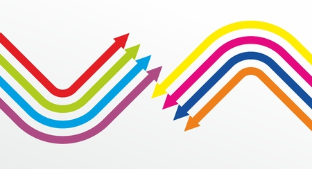 colored lines with marks at the end Vector