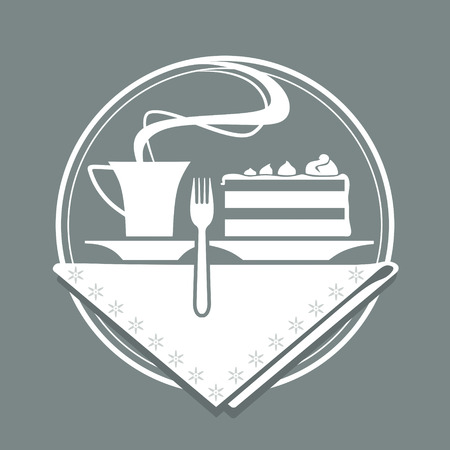 serviette: place setting with coffee, cake, cake fork and serviette Illustration