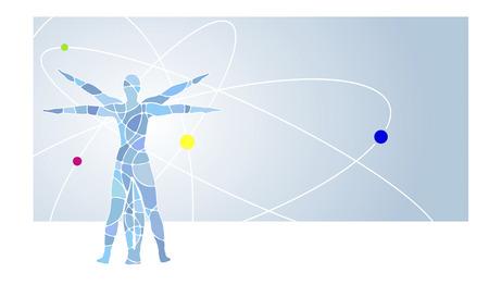 プロポーションを持つ人間図の古典的なイラスト