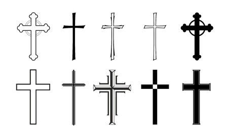 condolence: different designs of grave crosses for obituaries