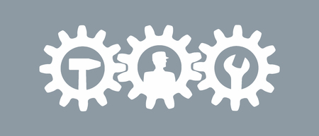 simplified: simplified sign made of gear wheels and tools Stock Photo
