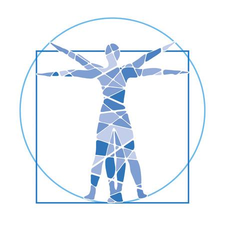 팔과 다리가 뻗어있는 인간의 비율 스톡 콘텐츠
