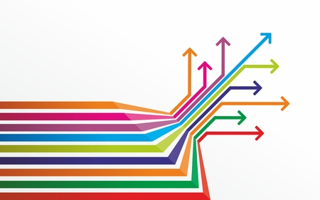 colored lines with marks at the end Stock Photo