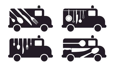 van with cutlery as symbol for catering Vector