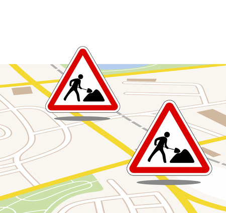 road works: city map with traffic and road works updates