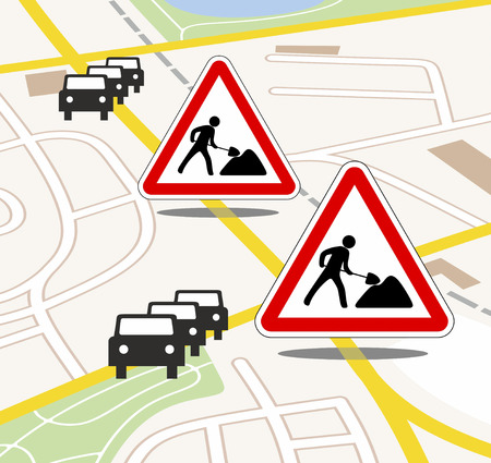 traffic jam: city map with traffic and road works updates