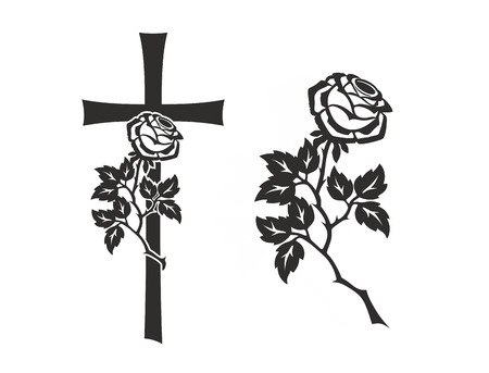 decoration for funerals with cross and rose photo