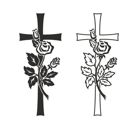abstract cross: simplified illustration of cross with rose for decoration