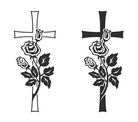 simplified illustration of cross with rose for decoration illustration