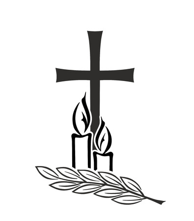 obituary: decoration for funerals with cross and candles
