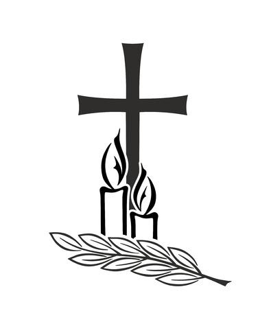 Dekoration für Beerdigungen mit Kreuz und Kerzen Standard-Bild