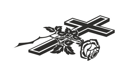condolence: decoration for funerals with cross and rose