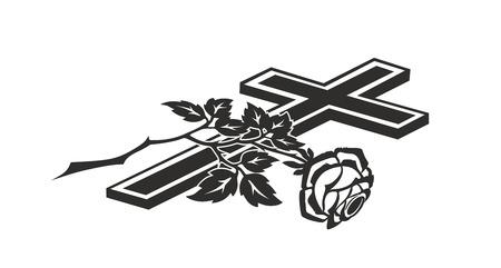 Dekoration für Beerdigungen mit Kreuz und Rose Standard-Bild