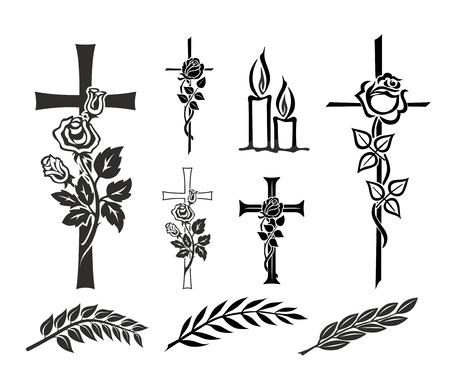 memorial cross: conjunto con la decoración de lápidas o funerales Foto de archivo