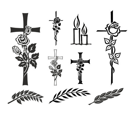 set with decoration for tombstones or funerals Stock Photo
