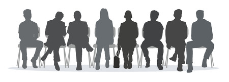 anteroom: waiting room situation with silhouettes of different people Stock Photo