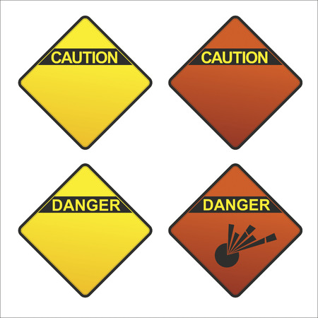 potentially: different signs indicating a potentially dangerous environment