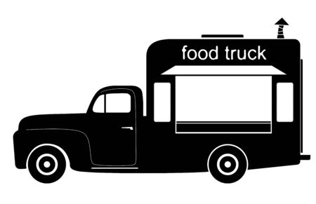 side view of a small truck refitted for catering photo