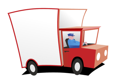 truck driver: illustration of a stylized truck with driver Stock Photo