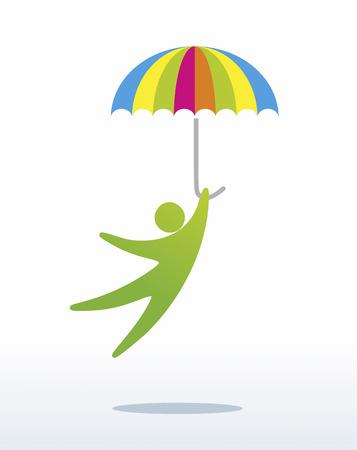 figura humana: una figura humana simplificado salta con el paraguas