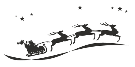 santa claus with typical sledge, presents and deer photo