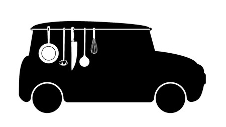 silhouette of delivery van with cooking utensils photo