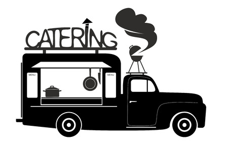 side view of a food truck of catering van photo