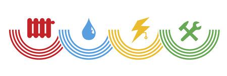 Symboles pour la gestion des installations et de la technologie du bâtiment Banque d'images - 36966028